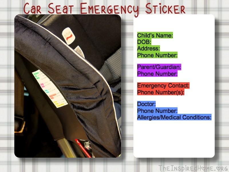Car Seat Emergency Sticker