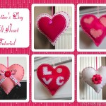 A tutorial for making Valentine's Day Felt Hearts from TheInspiredHome.org