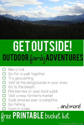 ree Printable: Family Outdoor Adventure Bucket List
