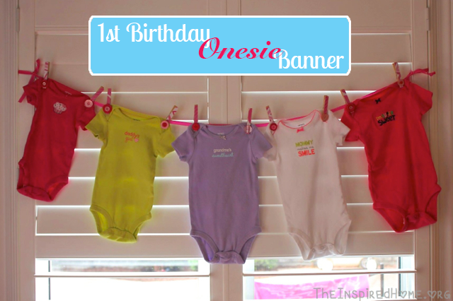 Learn how to make this simple Onesie Banner for your child's first birthday from TheInspiredHome.org