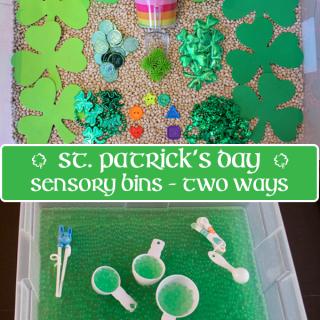 St. Patrick's Day Sensory Bin 2 Ways