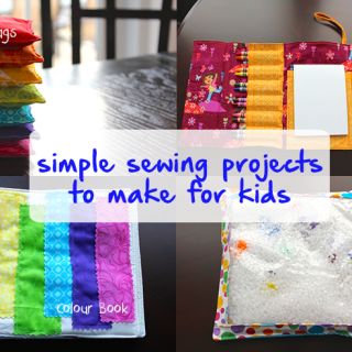 TheInspiredHome.org // 4 Simple Sewing Projects to Make for Kids: Bean bags, crayon wallet, colour taggie book and an i-spy bag. {Tutorial Roundup}