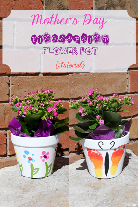 TheInspiredHome.org // Mother's Day Flower Pot Gift. Perfect for babies and toddlers to give to grandma. Includes a footprint butterfly, toeprint caterpillar and fingerprint flowers.