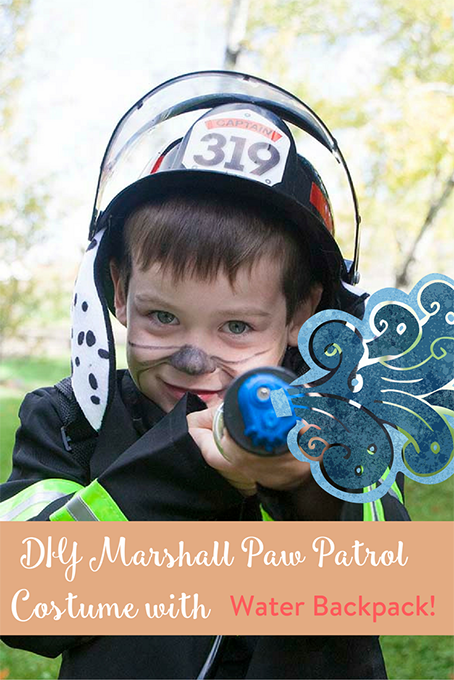 TheInspiredHome.org // Real water squirting action! DIY your very own Marshall Paw Patrol Costume with these quick & easy steps.