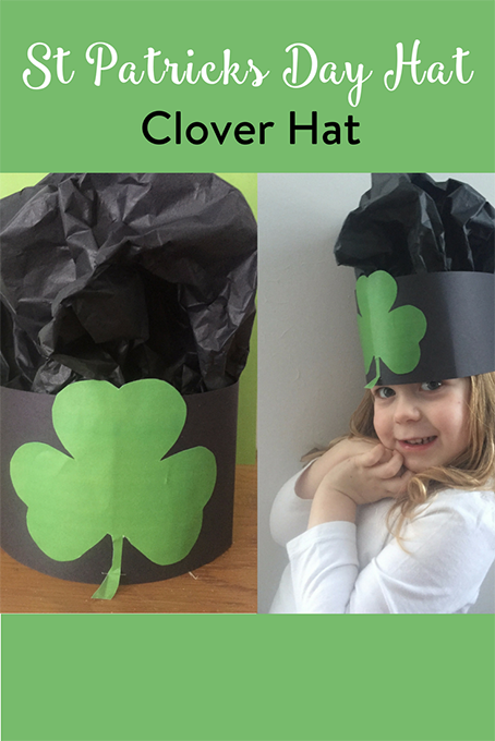 TheInspiredHome.org // St Patricks Day Hat Shamrock Clover Hat. Look no further than these simple St Patricks Day Hat with Shamrock Clover that lend themselves to any head size as a simple preschool friendly craft.