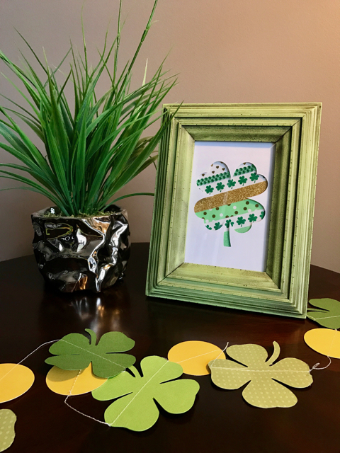 TheInspiredHome.org // DIY Washi Tape Shamrock Art. A quick and simple way to add a little decoration to your St. Patrick's Day mantel!