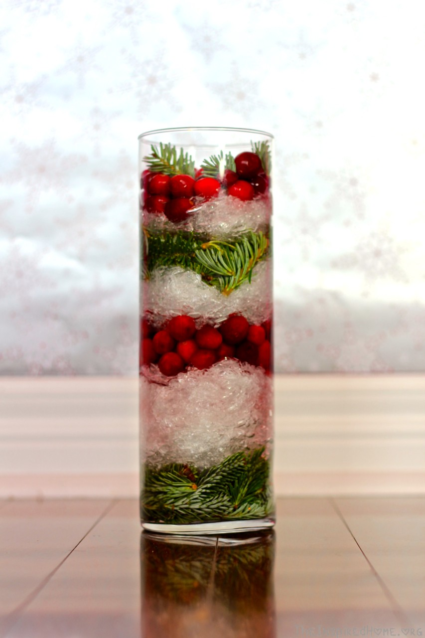 plastic wrap cranberries vase filler