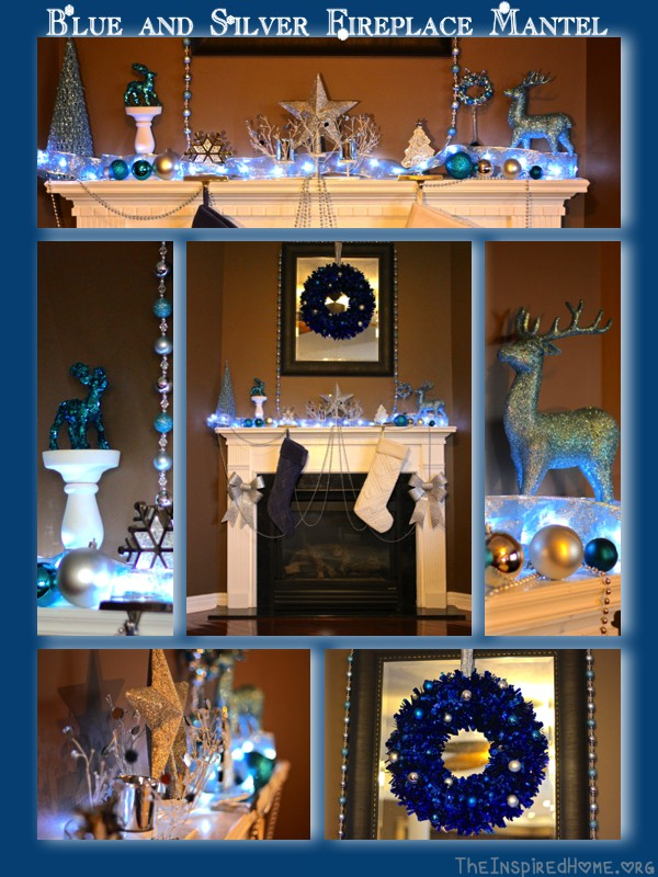 blue silver fireplace mantel