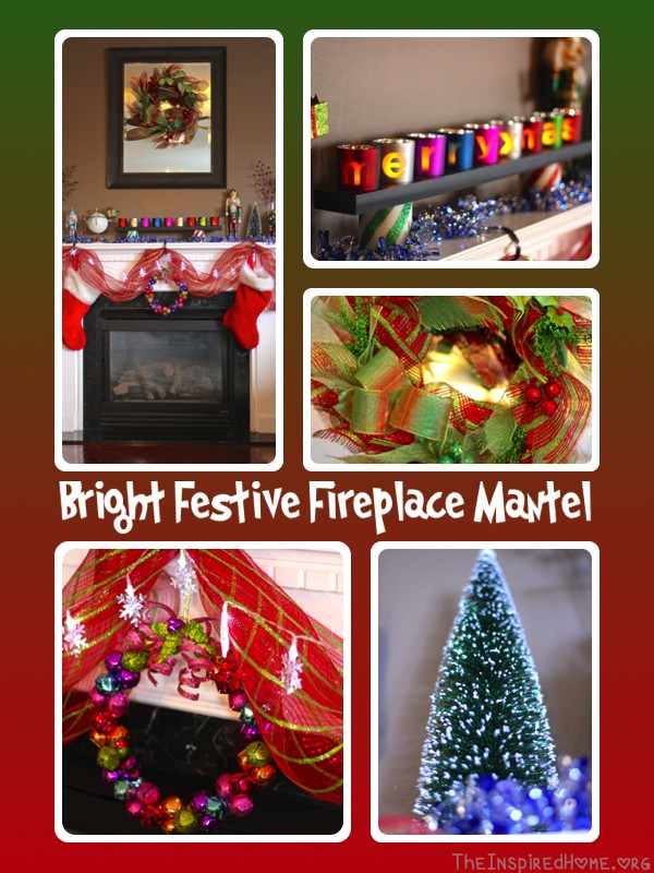 bright festive mantel collage