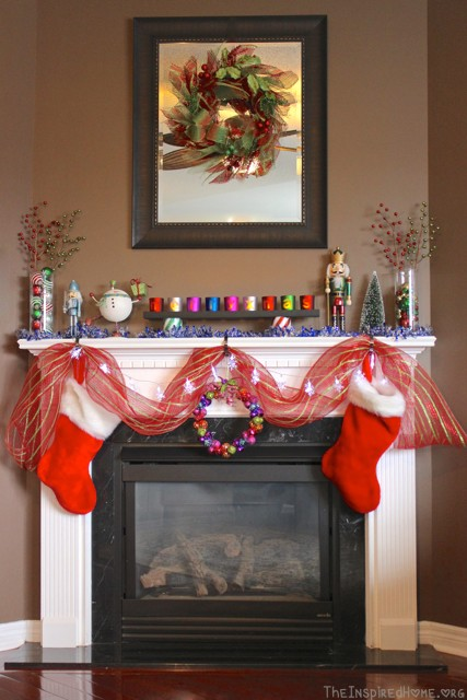 bright festive mantel