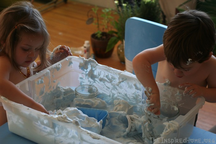 Shaving Cream Sensory Bin by theinspiredhome.org