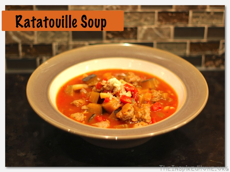 Ratatouille Soup - A quick and simple yet hearty and delicious soup featuring sausage and eggplant in a beefy tomato broth from TheInspiredHome.org