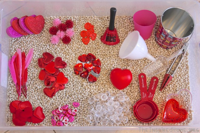 Image result for valentine sensory bin