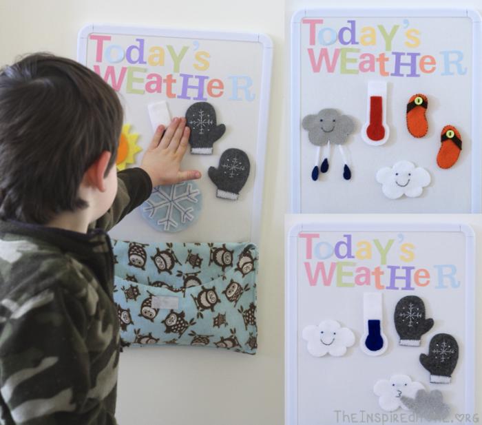Adding Weather Symbols to DIY Felt Weather Board