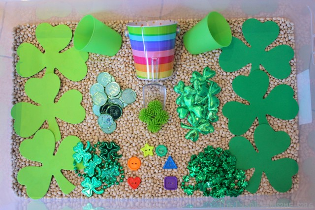 Fill your sensory bin for St. Patrick's Day with a variety of green & rainbow items. From TheInspiredHome.org