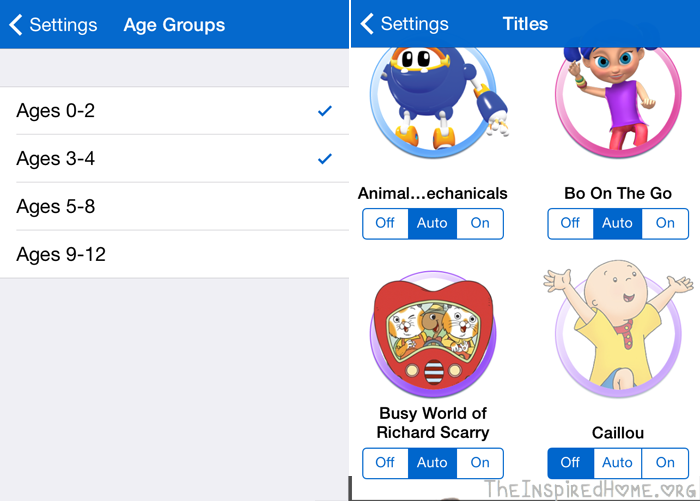 KidoodleTV Sorting by Age Groups and Turning Off Characters