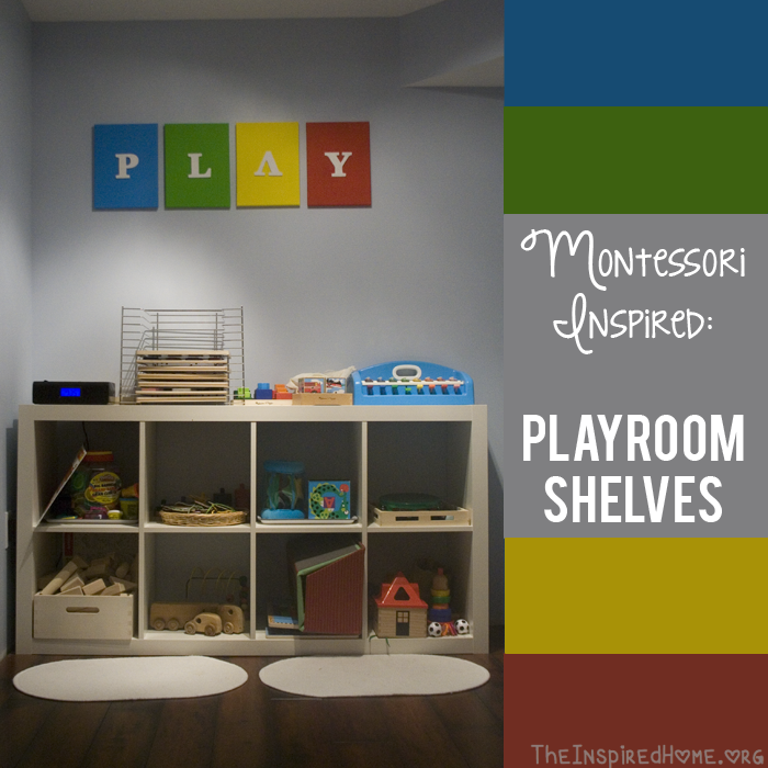 TheInspiredHome.org // Montessori at Home Playroom Storage Shelves