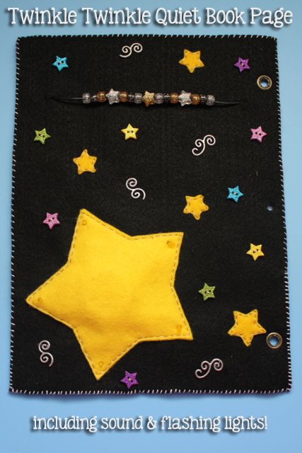 TheInspiredHome.org // Twinkle Twinkle Little Star Felt Quiet Book Page Tutorial - includes sound and flashing lights!