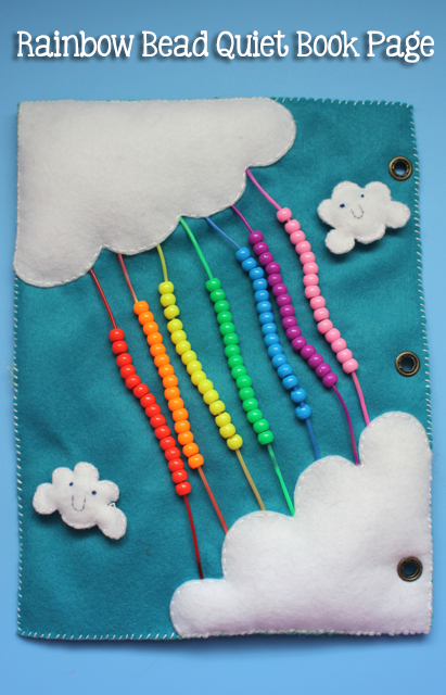 TheInspiredHome.org // Quiet Book Pages: Rainbow Bead Page Tutorial. A felt quiet book page including puffy clouds and strands of bright, colorful beads. Ideal for older babies and younger toddlers.