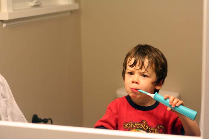 TheInspiredHome.org // Mr J makes faces while brushing with his #Sonicare for Kids