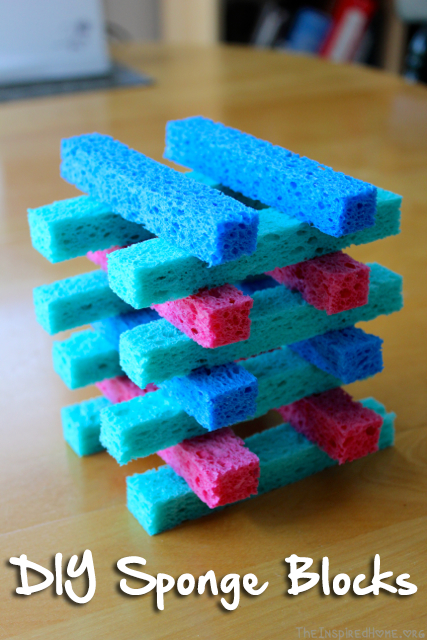 TheInspiredHome.org // DIY Sponge Blocks. Stack them, sort them, make doll furniture from them! The possibilities are endless.