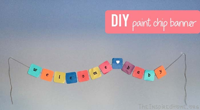 TheInspiredHome.org // DIY Paint Chip Banner for a Baby Shower