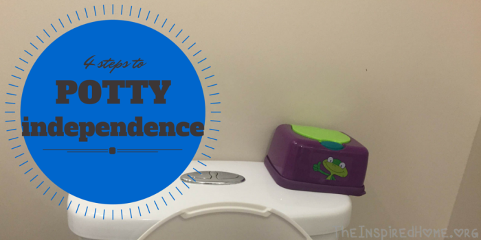 TheInspiredHome.org // 4 steps to Potty Independence. Got them to do the potty routine but they haven't quite got it down yet? Here's how to inspire potty independence without mom or dad's help.