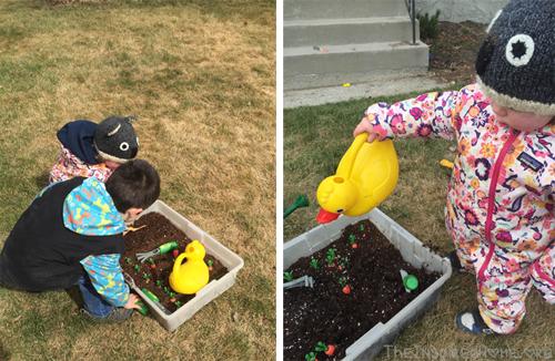 TheInspiredHome.org // Kids in Dirt, Playing in the Mini Garden Sensory Bin. Gardening with Kids.