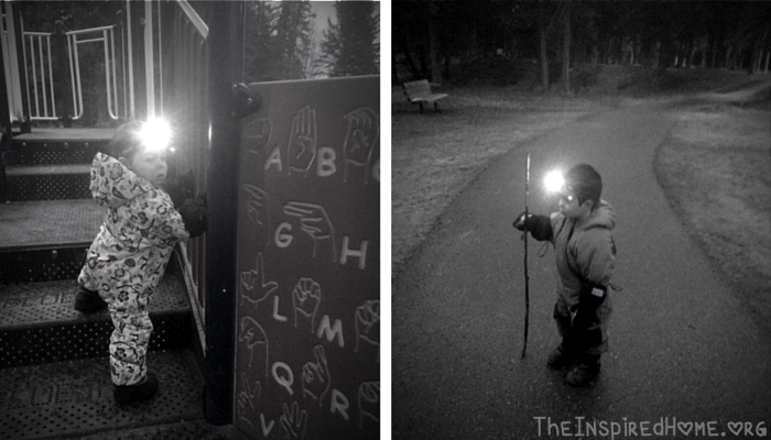 TheInspiredHome.org // Micro Adventures Flashlight Walk in the Park at Night