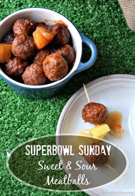 An easy Slow Cooker Sweet and Sour meatball recipe perfect for Super Bowl Sunday