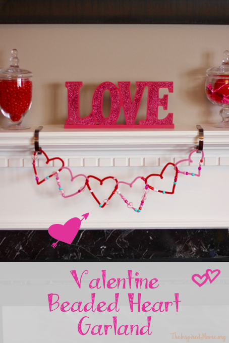 Valentine Beaded Heart Garland Craft for Toddlers Tutorial from The Inspired Home