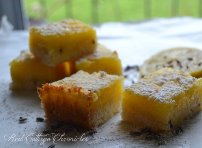 A tangy lemon square with a hint of floral flavour