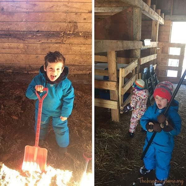 Kids Helping in the Barn