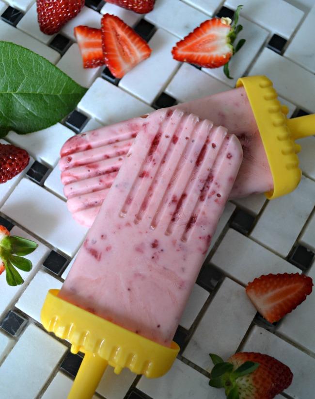 Frozen Strawberry Greek Yogurt Pops make a nutrious summer time treat