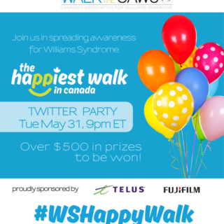 #WSHappyWalk Twitter Party for Williams Syndrome Awareness