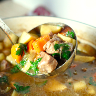 Pork Stew Recipe: Beer Braised Pork with Apples and Root Vegetables
