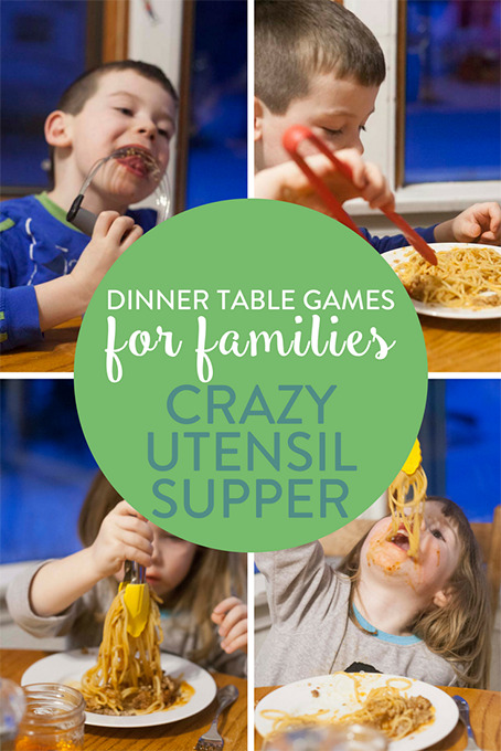 TheInspiredHome.org// Dinner Table Games for Families, Crazy Utensil Supper. Time to play with your food! We've got dinner table games for families to try. Make a fun filled messy crazy utensil supper with spaghetti.