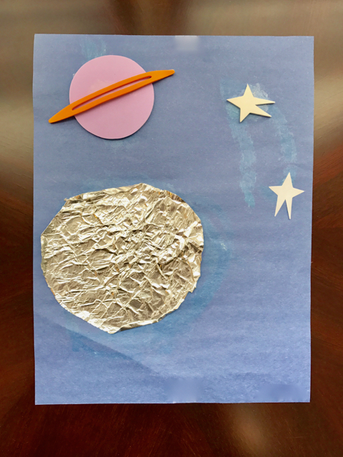 TheInspiredHome.org // Space Crafts for Preschoolers & Toddlers - Space Crafts for Preschool: Tin Foil Moon. Space crafts for preschoolers can be so much fun. Have them make this tin foil moon using dollar store items for some sensory & fine motor fun!