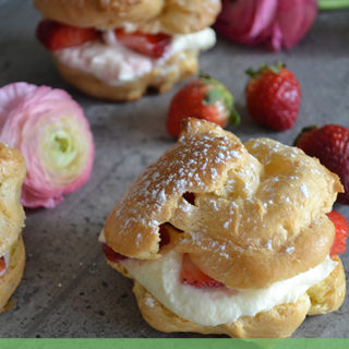 Strawberry White Chocolate Cream Puffs